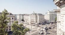 Der Blick auf die imposanten Ringstraßenhäuser vom Grand Ferdinand.