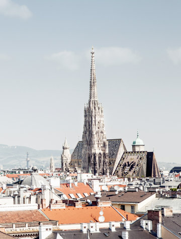 The view on the Stephansdom from Grand Ferdinand hotel.
