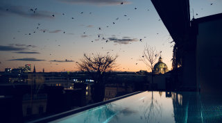 Evening view from the pool over the rooftops of Vienna.