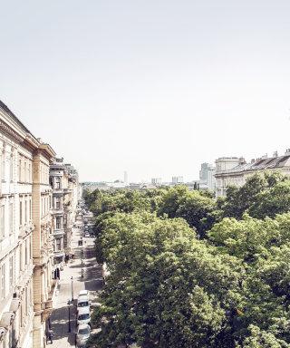 Zimmerblick auf die Ringstraßenallee mit grünen Bäumen und Wiener Flair.