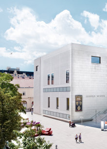 The white building of the Leopold Museum at the MuseumsQuartier.