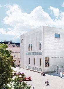 Das weiße Gebäude des Leopold Museums im MuseumsQuartier.