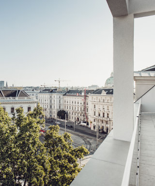 The private terrace of the Grand Ferdinand suite with view over the rooftops of Vienna.